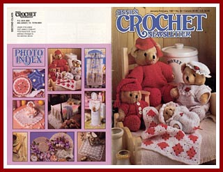 Cover of Annie's Crochet Newsletter from Jan-Feb 1997 which includes the Double Wedding Ring afghan patterns