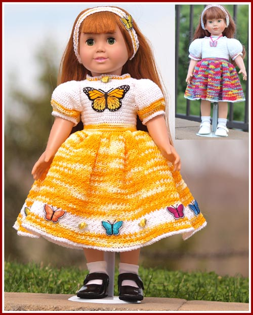 Treasured Heirlooms Crochet Thread Crochet Dress For 18 Dolls Such