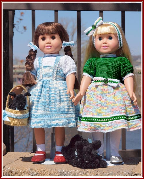 Dorothy in her blue jumper and her friend Evie in her Emerald Rainbow party dress.