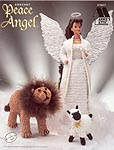 Annie's Attic Fashion Doll Peace Angel holds a dove; instructions also included for the Lion and the Lamb.
