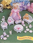 Annies Fashion Doll Crochet Club: Afternoon Tea Party Dollhouse -size miniature furniture