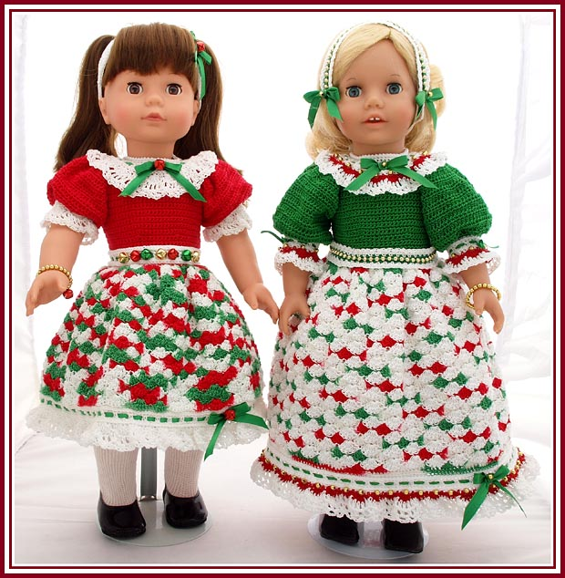 Holly and Ivy holiday dresses for 18 inch dolls