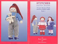 Stitches and her Friends, 18 inch knitted doll whose three outfits would likely fit popular 18 inch play dolls.
