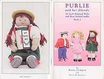 Purlie and her Friends, 18 inch knitted doll whose three outfits would likely fit popular 18 inch play dolls.