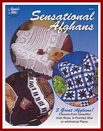 Cover, Sensational Afghans, which contains a reprint of my Piano Afghan pattern.