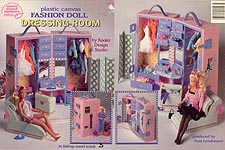 Plastic Canvas Fashion Doll Dressing Room in Fold-up Trunk