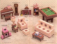 Fashion Doll family room, furniture for 11-inch dolls made in plastic canvas.