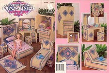 Annie's Attic Plastic Canvas Fashion Doll Contemporary Diamonds Water Bed Suite