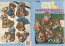 LA Cherished Teddies Monthly Magnets in Plastic Canvas