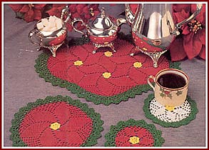 Poinsettia Blossom Doilies and Coaster set