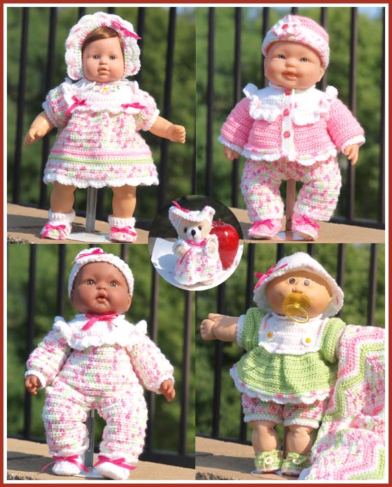 Treasured Heirlooms Crochet Rainbow Sherbet Baby Doll Layette