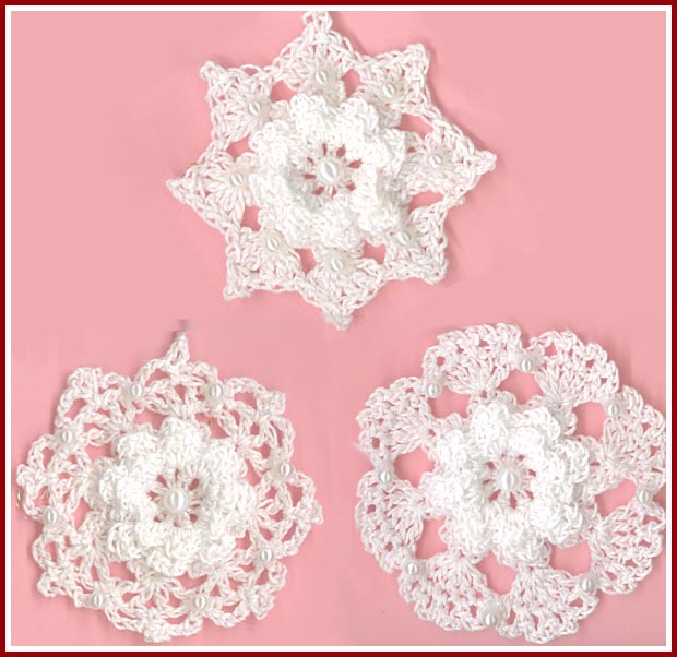 Crochet Snowflakes With Beads