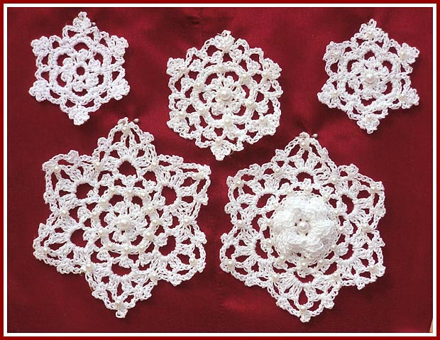 Irish Crochet Snowflakes use size 10 crochet thread and pearl beads for trim.