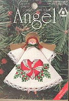 Counted Cross Stitch Clothespin Angel Kit: Peppermint Heart